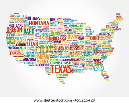 Usa Map Word Cloud Collage Most Stock Vector Shutterstock - Map of usa with cities