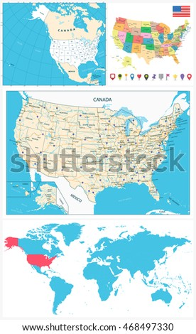 Infographic Vector Illustration Map Usa Stock Vector - Large image map of us vector labels
