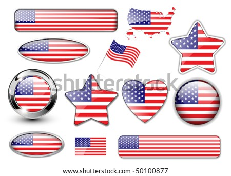 USA, North American flag buttons great collection, high quality vector illustration. - stock vector