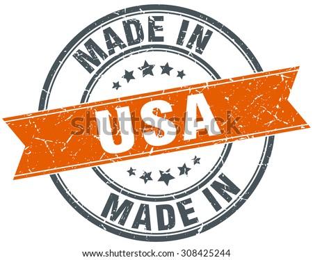 usa orange grunge ribbon stamp on white - stock vector