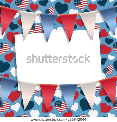 usa party decoration with pattern, bunting and card for your text - stock vector