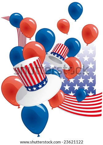 USA party with hats and balloons - stock vector