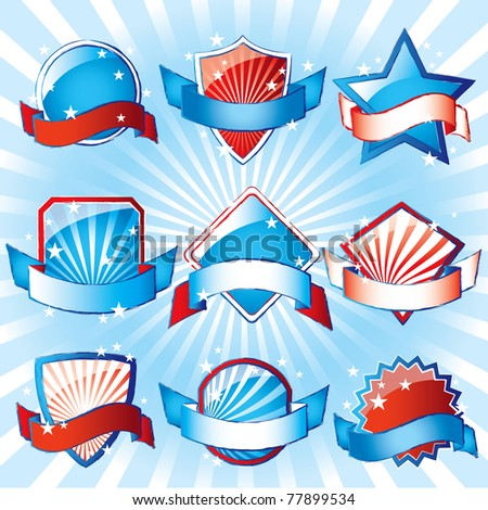 USA Patriotic Colored Labels - stock vector