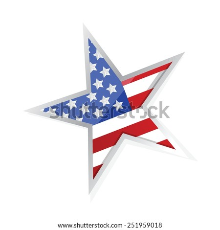 usa patriotic flag star illustration design over a white background - stock vector