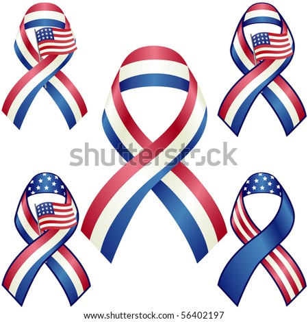 USA patriotic ribbons vector set isolated on white - stock vector