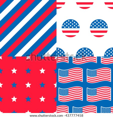 USA Patterns - Collection of 4 American patriotic patterns in red, blue and white