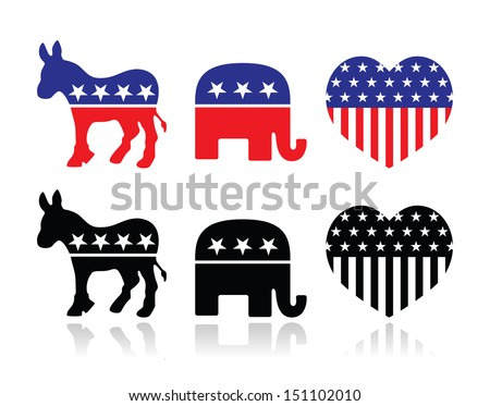 USA political parties symbols: democrats and repbublicans - stock vector