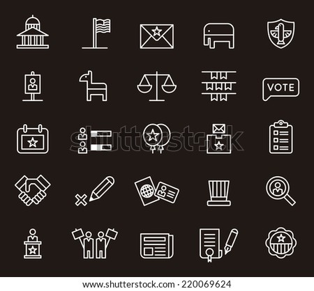 USA Politics icons - stock vector