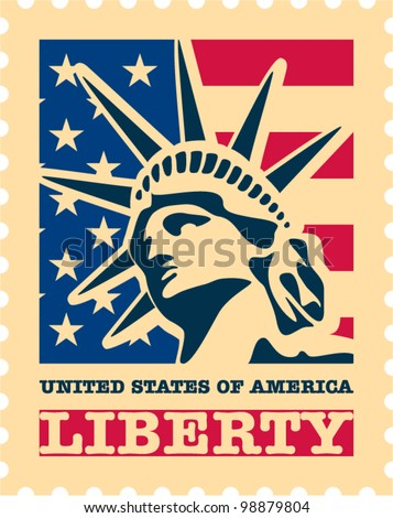 USA postage stamp. - stock vector