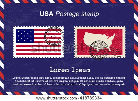 USA postage stamp, vintage stamp, air mail envelope, United State of America. - stock vector