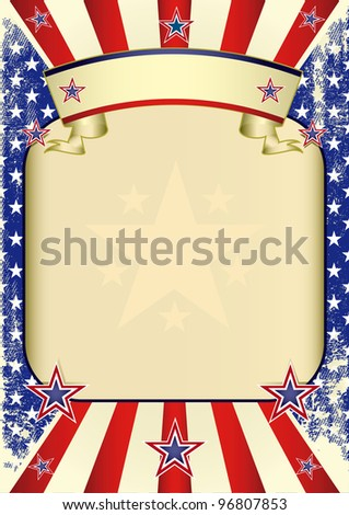 USA poster grunge. A large empty frame for your advertising - stock vector