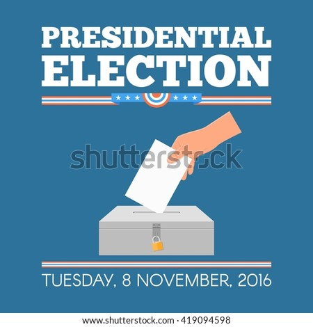 USA presidential election day concept vector illustration. Hand putting voting paper in the ballot box. Voting concept in flat style. - stock vector