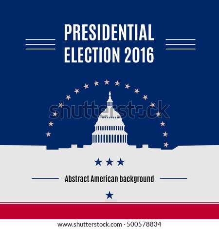 USA presidential election day concept with White house and Capitol building light silhouette with text  place on it. Vector illustration