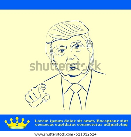 USA presidential election Donald Trump, vector illustration, Editorial use only