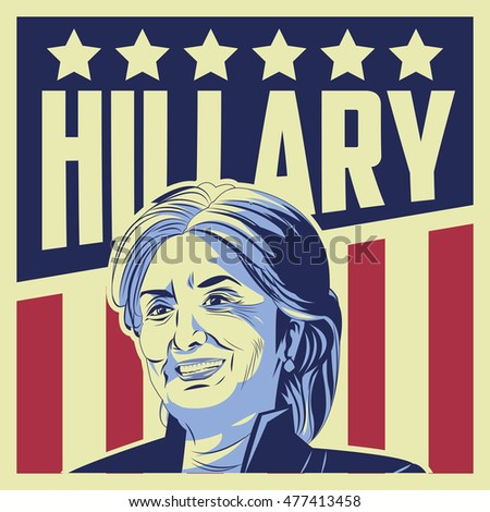 Usa presidential election hillary clinton, vector illustration , Editorial use only