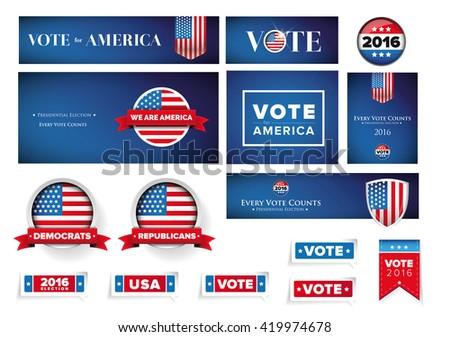 USA presidential election set 2016 vector banner - stock vector
