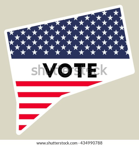 Usa Presidential Election 2016 Vote Sticker Connecticut State Map Outline With Us Flag Vote