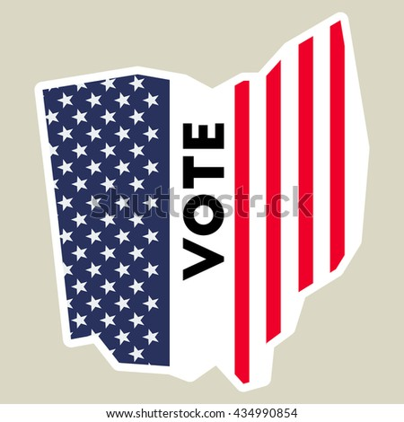 Usa Presidential Election 2016 Vote Sticker Ohio State Map Outline With Us Flag Vote
