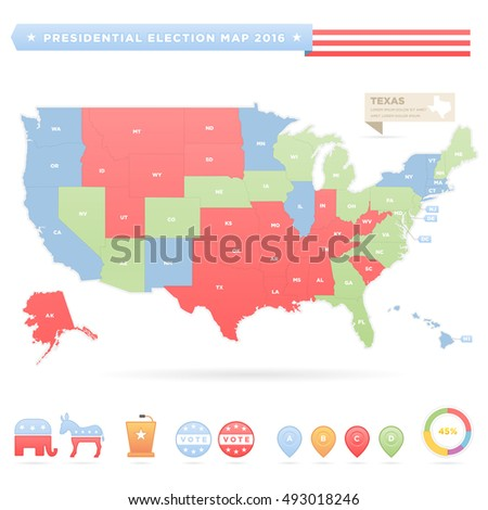 USA Presidential Elections Infographic Map Stock Vector 493018246 ...