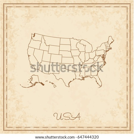 Usa Map Grunge Style Vector Illustration Stock Vector - Parchment paper map of us