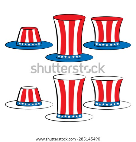 USA set hats (uncle Sam top hat, top hat for independence day) - stock vector