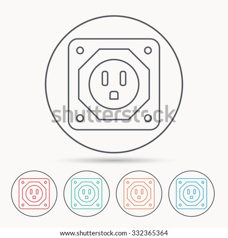 USA socket icon. Electricity power adapter sign. Linear circle icons.