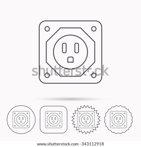 USA socket icon. Electricity power adapter sign. Linear circle, square and star buttons with icons.