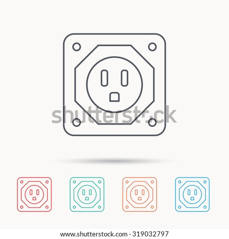USA socket icon. Electricity power adapter sign. Linear icons on white background. Vector