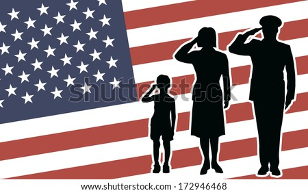 USA soldier family salute - stock vector