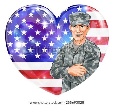 USA Soldier Illustration of a handsome happy American soldier in front of a US heart flag with party balloons. Great for 4th July, Veterans day, Independence Day or similar. - stock vector