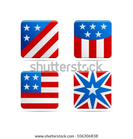 USA Square Icons - stock vector