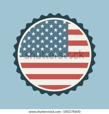 USa stamp on blue background, vector illustration - stock vector