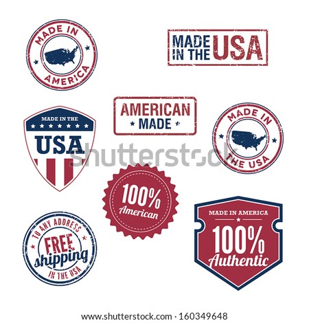 USA stamps and badges - stock vector