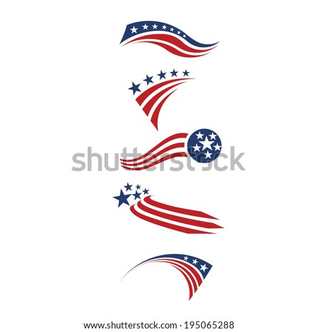 USA star flag and stripes design elements vector icons - stock vector