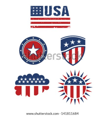 USA star flag design elements vector - stock vector