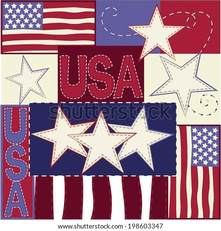 USA stars stripes and flags