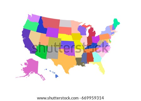 Usa Vector Map Separated Countries Different Stock Vector - Colored usa map