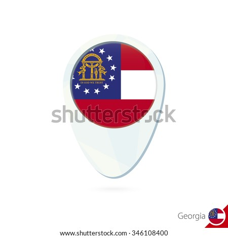 USA State Georgia flag location map pin icon on white background. Vector Illustration. - stock vector