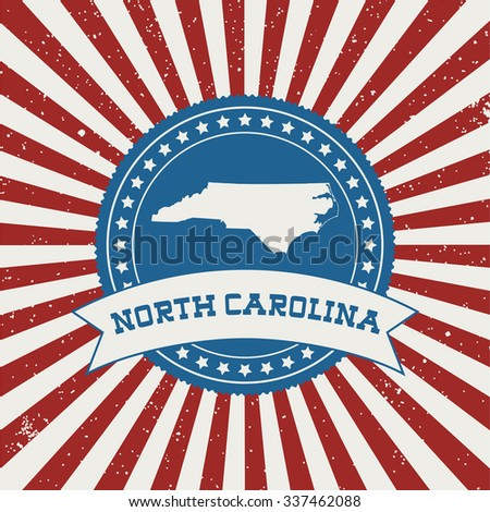 USA State map on a badge, retro style - stock vector