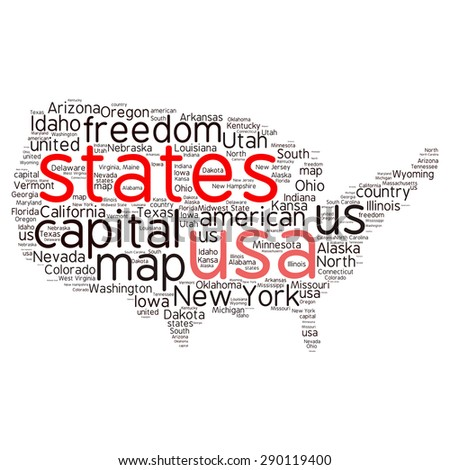 Usa Map Word Cloud Collage Most Stock Vector Shutterstock - Us cloud map