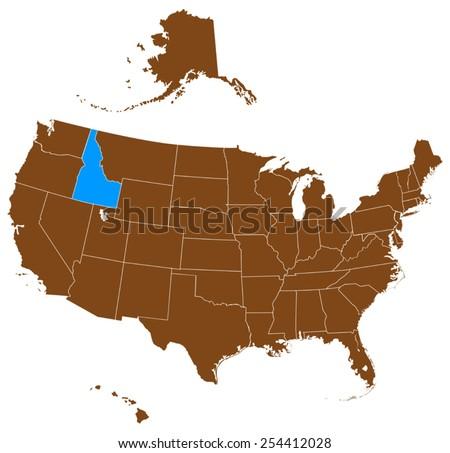 USA state Of Idaho map  - stock vector
