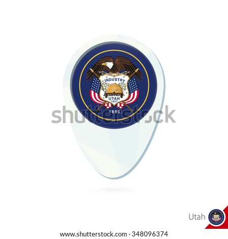 USA State Utah flag location map pin icon on white background. Vector Illustration. - stock vector