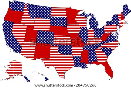 USA stripes and stars patriotic map - stock vector