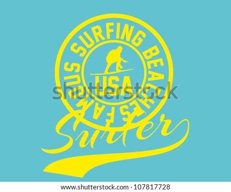 usa surfer - stock vector