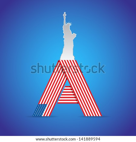 USA symbolic illustration from classical symbols - stock vector