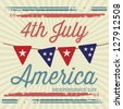 USA (4th July commemorative poster), vintage style. Vector illustration - stock photo