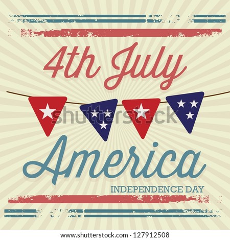 USA (4th July commemorative poster), vintage style. Vector illustration - stock vector