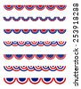 USA 4th of July Patriotic , National day border / frames / bunting collection for USA  - stock vector