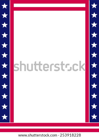USA 4th of July stars and stripes frame design with empty white space on middle - stock vector