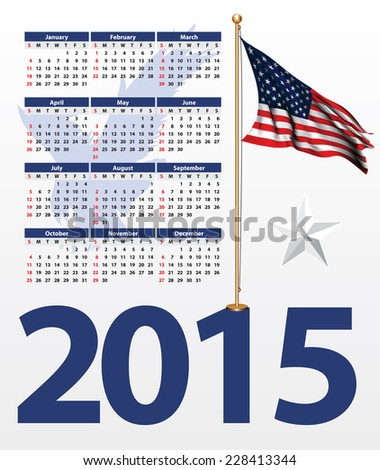 USA theme calendar for the 2015 - stock vector